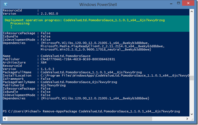 PowerShell pomodoro sauce being removed